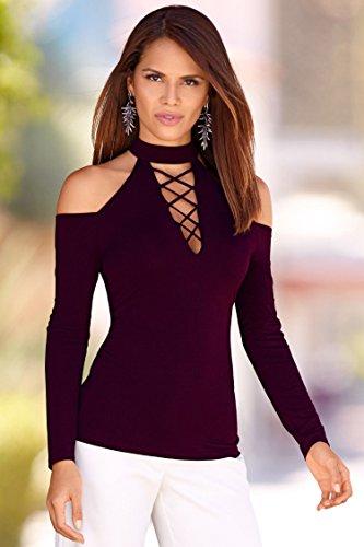 ECOWISH Damen Bluse Neckholder Top Hemd Oberteile Lace Up V Ausschnitt Langarm Shirt Weinrot
