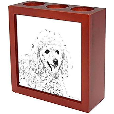 Barboncino, Stand in legno per le candele / penne con l'immagine di un cane