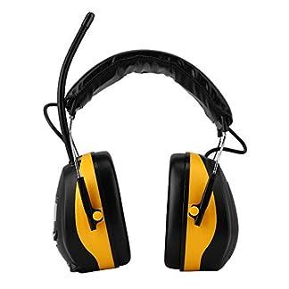 Orejeras de seguridad con reducción de ruido – NRR 28dB Orejeras de seguridad plegables ajustables portátiles, Protector auditivo electrónico con pantalla LCD Orejera de radio AM/FM Amarillo