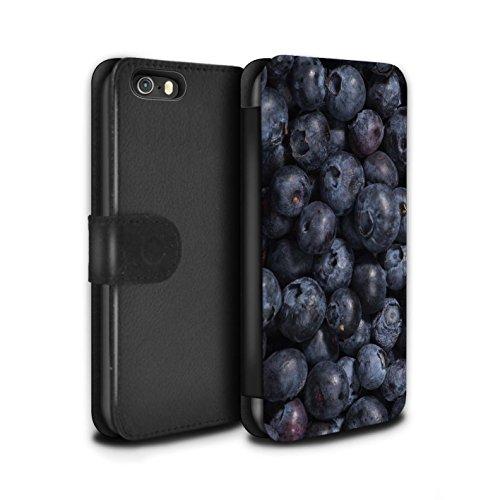 Stuff4 Coque/Etui/Housse Cuir PU Case/Cover pour Apple iPhone SE / Cassis Design / Fruits Juteux Collection Myrtille
