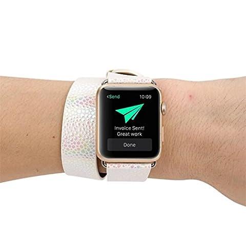 Remplacement montre Band, Jaminy longue Bande de cuir double tour Bracelet Bracelet pour Apple montre 38mm, argenté