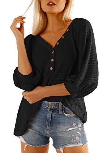 Dokotoo T-Shirt Damen V-Ausschnitt Elegant Langarm 3/4 Bluse Solide Tunika Sommer Tops Schwarz L (EU44-EU46) -