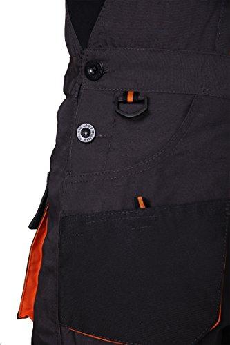 Latzhose Arbeitshose CLASSIC Handwerker KFZ Gärtner Mechaniker 270g/m2 (46, graphit/orange) - 7