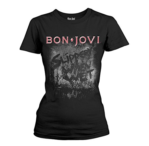 Ladies Jon Bon Jovi Slippery When Wet Rock oficial Camiseta mujeres señoras (Large)