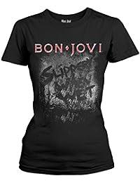 6c26d94df1871 Tee Shack Ladies Jon Bon Jovi Slippery When Wet Rock Offiziell Frauen T-Shirt  Damen