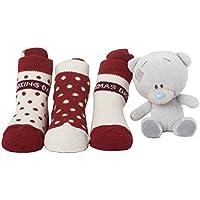 Me to You-Peluche di Tiny Tatty Teddy con 3 paia di calzini da bambino come Idea regalo di Natale Set per neonato fino 6 mesi
