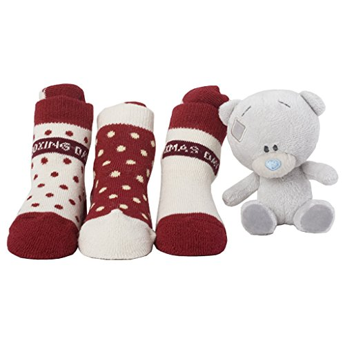 Me To You Plush Tiny Tatty Teddy and 3 Pairs Of Baby Socks Christmas Gift Idea Set Newborn to 6 Months