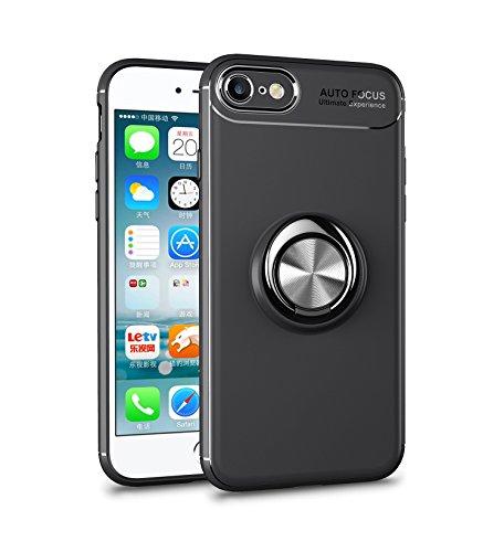 iPhone 8 Hülle , iPhone 7 Handyhülle mit Ring Kickstand - Mosoris Premium Silikon Shell mit 360 Grad Drehbarer Ständer und Handyhalterung Auto Magnet Ring , Stoßfest Rüstung Schutzhülle Bumper Tasche Case Cover für iPhone 7 / 8,Schwarz + Schwarz