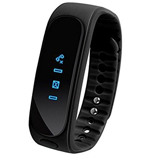 momcare® Portatile Orologio Nero Safe E02Bluetooth impermeabile IP57chiamate senza fili Sport Esercizio Messaggio Task Reminder sonno Tracker Pedometro Remote Camera Video controllo Smartphone ricarica antifurto allarme orologio da polso bracciale braccialetti per iPhone 6Plus 5S 5C 54S, iPad Air, Mini, Galaxy S6S5S4S3, Note 432, Tab 432Pro, Nexus 45710, HTC One, One 2(M8), LG G3, Moto X G, maggior parte degli altri telefoni e tablet