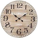 Mobili Rebecca® Reloj Mural Analogico Grande Madera Mdf Metal Estilo Industrial Londres Diametro 60 cm (Cod. RE6007)