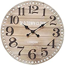 Mobili Rebecca® Orologio a Muro Grande Legno Mdf Metallo Stile Industrial Tondo Analogico Londra Diametro 70 cm (Cod. RE6007)
