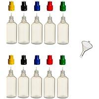 10unidades de 50ml PP de botellas con tapas de colores + relleno de embudo––Botella vacía Botella Plástico lengüeta Frasco quetschbar para rellenar y mezclar también liquide