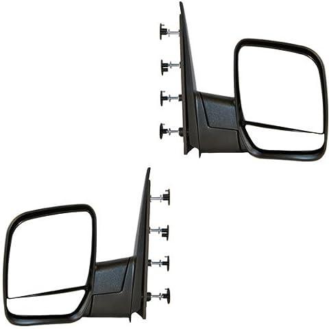 2002-2008 Ford Econoline Van E150, E250, E350, E450, E550 Manual Folding Black Textured (Single Arm - Dual Glass) Rear View Mirror Pair Set: Left Driver AND Right Passenger Side (02 2002 03 2003 04 2004 05 2005 06 2006 07 2007 08 2008) by Aftermarket Auto