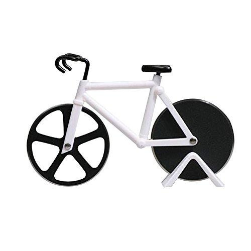 Pastry Wheel Cutter (EGOGO Pizzaschneider,Fahrrad Stil Design,Pizza Klingen aus Rostfreiem Stahl mit Antihaft-Beschichtung,Schneide-Räder mit Ständer(Weiß))