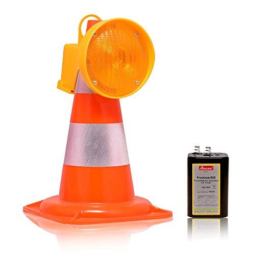 LED-MARTIN Leitkegel Pylon - 50cm + LED-Warnleuchte - orange + Batterie - Unfallabsicherung - Pylonen - Baustelle - LKW - Auto
