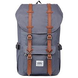 """Rucksack Damen Handgepäckrucksack Herren KAUKKO Backpack Schulrucksack KAUKKO 17 Zoll Laptop Rucksack für 15"""" Notebook Lässiger Daypacks Schultaschen of 2 Side Pockets für Wandern Reisen Camping (NGrau)"""