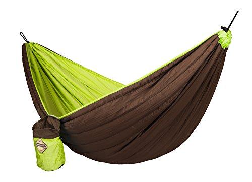 LA SIESTA® Colibri Gepolstert Reisehängematte für zwei Personen / Aufhängesystem INKLUSIVE / Camping Hängematte bis 180Kg / 250cm x 150cm / Outdoor + Wetterfestes Material / Tragbare Platzsparende Hängematte / Green