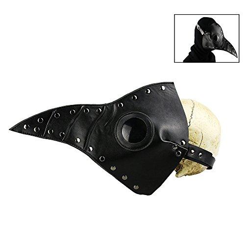 EisEyen Halloween Cosplay Costume Maske Halloween Scary Real PU Leather Mask Plague Doctor Leder Lange Nase Maske für Männer und Frauen für Party Kostüm Spielen Erwachsene