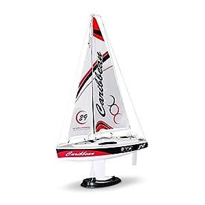 RCTecnic Barca Controllo Remoto RC Barca a Vela Caribbean MK2 Montata Pronta per la Navigazione, Chiglia in Lega e Albero in Carbonio, per Piscina, Lago, Stagno, Ideale per Bambini e Iniziazione