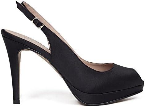 Zapato Fiesta Mujer Tipo Peeptoes Negro Satén, Tacón Alto y Plataforma. Zapatos de Vestir Cómodos con Plantilla...
