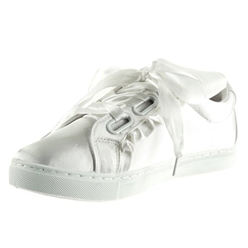 Angkorly - Chaussures Mode Sneaker Semelle Sneaker Femme Lacets En Satin Talon 2.5 Cm Talon Plat Blanc