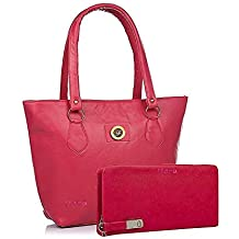 Flora Pu Leather Women's Handbag And Wallet Clutch Combo