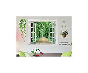 ds s sses wandbild fenster ausblick wald selbstklebend. Black Bedroom Furniture Sets. Home Design Ideas
