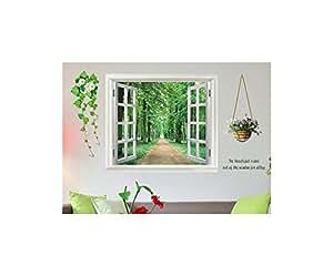 ds s sses wandbild fenster ausblick wald selbstklebend sticker deko k che haushalt. Black Bedroom Furniture Sets. Home Design Ideas