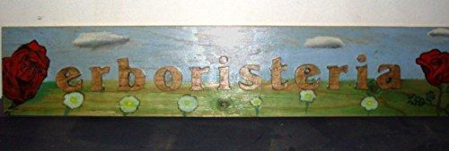 insegna in legno dipinta a mano con lettere a rilievo
