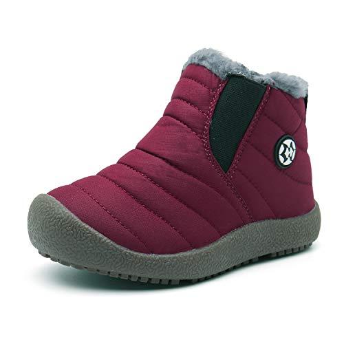 Gaatpot Kinder Winterschuhe Jungen Mädchen Schneestiefel Wasserdicht Warm gefütterte Schlupfstiefel Winter Stiefel Sneaker Schuhe Weinrot 28.5 EU/29 CN