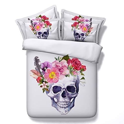 JSDJSUIT Bettwäsche gesetzt 3D Schädel Bettwäsche-Sets Plaid Bettbezüge für Twin Full Queen King Size Bett Europa Stil Zucker Schädel Bettwäsche Bettbezug-Twin Set 4st