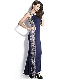 Traje de neopreno para mujer diseño azul marino AND Lace Evening cóctel con lazo y pedrería