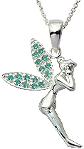 Tinkerbell Silber Anhänger mit Schwarz Seide Schnur Halskette. Wunderschön entworfen und handbearbeitet zu einem sehr hohen Schmuck Standard.