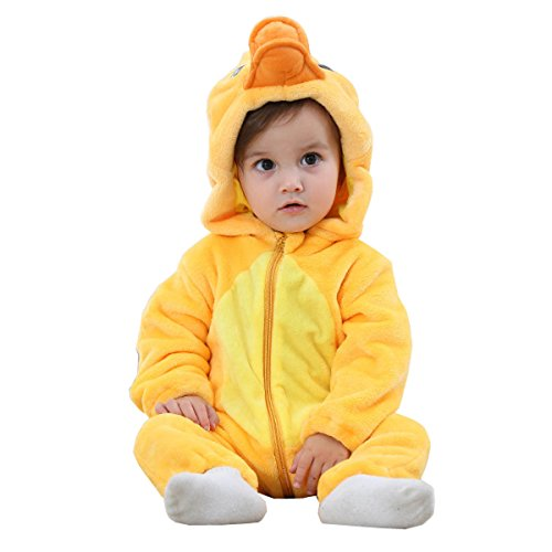 BabyPreg Unisex Baby Tier Halloween Kostüme Hooded Flanell Spielanzug Outfits (80cm / 6-12 Monate, Ente)