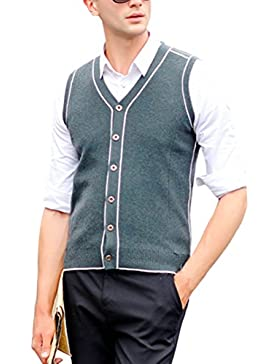 Zhhlaixing De los hombres Mens Father Middle-aged Solid Slim Soft V-neck Comfortable Wool Knitted Knitwear Pullover...