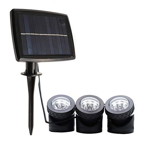 Veilleuse de sécurité extérieure à 3 têtes pour bassin alimenté à l'énergie solaire, projecteur orientable de paysage avec lampes submersibles IP68 imperméables pour décoration de piscines de jardin