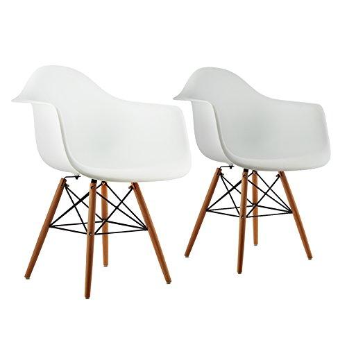 OneConcept Bellagio - Schalenstuhl, Designstuhl, Retro-Stuhl, 2er-Set, 70er Jahre Retro Look, breite Sitzfläche, hochwertige Hartplastik-Schale, Birkenholz-Beine, zeitlos, komfortabel, weiß