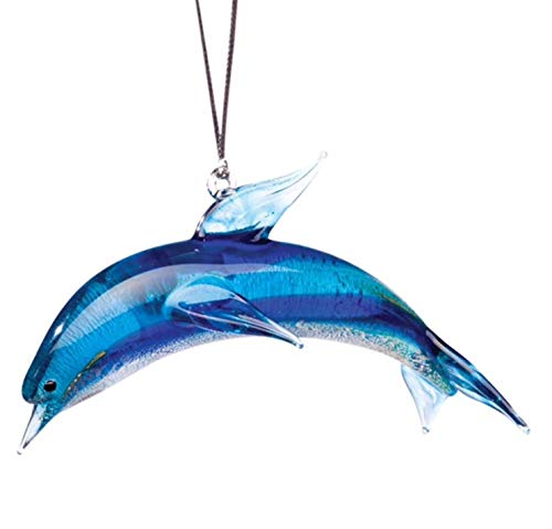 Glassdelights Blue Dolphin Glass Christmas Tree Ornament Ocean Sea Life New