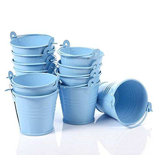 Biback 12pcs Farbe Mini Eimer Home Office Pflanze Dekoration Kleine Eisen Drum Candy Box