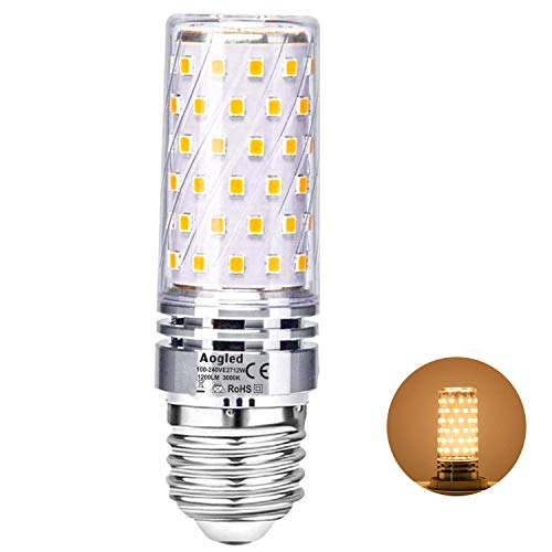 Aogled E27 Led Bulb Lamp 12W,Equivalent to 100W Halogen lamp,Warm White 3000K,1200LM Corncob,Edison Screw Candelabra,Not Dimmable,No Flickering AC220-240V,Pack of 1