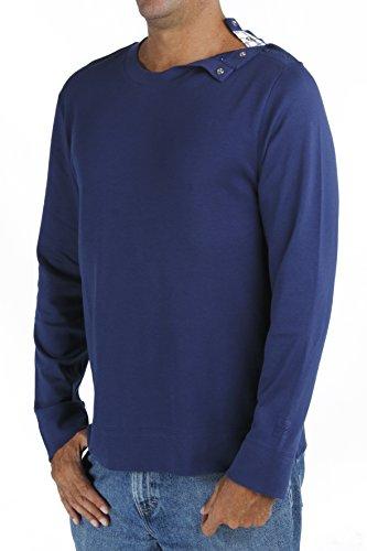 B.e Langarm-Shirt mit Rundhalsausschnitt, Männer Pima Baumwolle Empfindlicher Haut Ethisch Slowfashion MT2 Blue Jeans