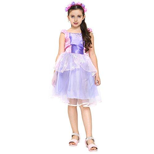 (Katara 1762-104/110 - Fee-Kostüm für Mädchen - Kinder Prinzessin-Kleid mit Tüll-Rock und Schleife - Ideales Geschenk und Verkleidung zu Fasching - Zubehör aus Stirnreif, Zauberstab, rosa/lila)