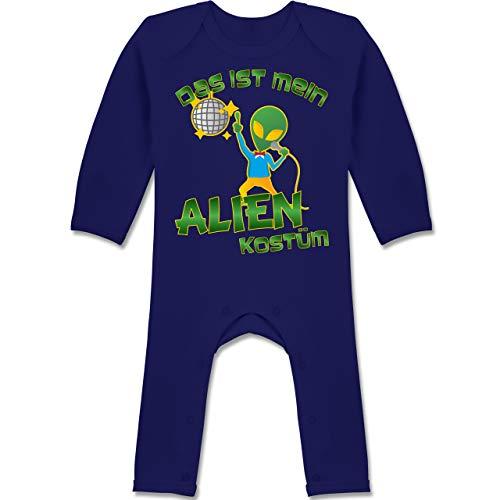 Alien Kostüm Mädchen Baby - Karneval und Fasching Baby - Das ist Mein Alien Kostüm Disco - 3-6 Monate - Navy Blau - BZ13 - Baby-Body Langarm für Jungen und Mädchen