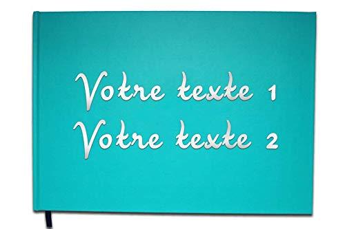 UTTSCHEID - Livre d'or Texte personnalisé 2 Lignes - Anniversaire, Souvenir, Cadeau - Lettres chromées ou dorées - 100 Pages - Bleu Calanque