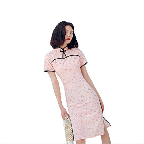 Cheongsam Kleid Muster (UNIQUE-F Muster Kleid, Frauen Verbesserte Cheongsam Kragen Kragen Schnalle Slim Fit Sexy Rock Retro Mode Hochzeit Urlaub L)