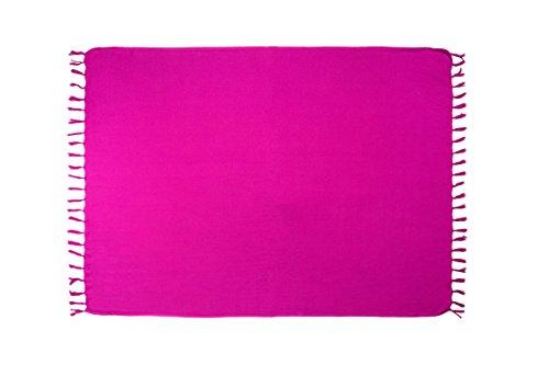 MANUMAR Damen Pareo blickdicht, Sarong Strandtuch in lila mit Schnalle, einfarbig, Sommer Handtuch 155x115cm, Hippie Sommer Kleid Sauna Hamam Lunghi Bikini Coverup Strandkleid