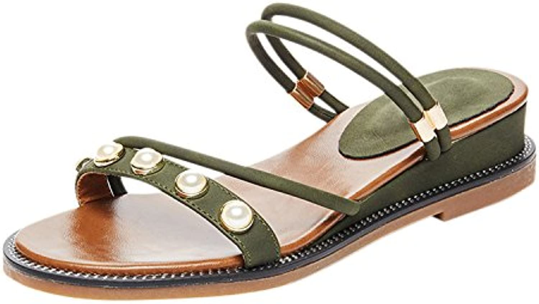 Frestepvie Damen Sommer Sandale PU Leder Strandsandale mit Perlen Einfarbig Fashion Strandschuhe in EU Größe 35ö
