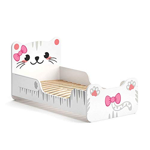 VitaliSpa Kinderbett IZZY 80x160 cm Weiß Juniorbett Jugendbett Katze Mädchenbett