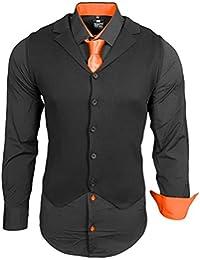 Rusty Neal Herren Hemd Weste Krawatte Set Hemden Business Hochzeit Freizeit Slim  Fit 2a408edb3a
