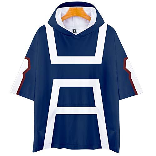 DuHLi My Hero College Hot Spring und Summer Autumn Sale Kurzarm-T-Shirt mit Kapuze Unisex-Paar wie Eltern-Kind-Sport Cosplay,Blue,S